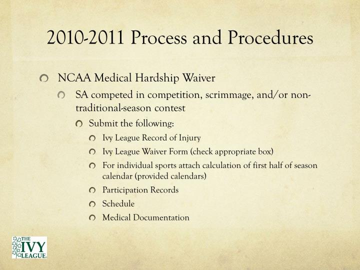 2010-2011 Process and Procedures