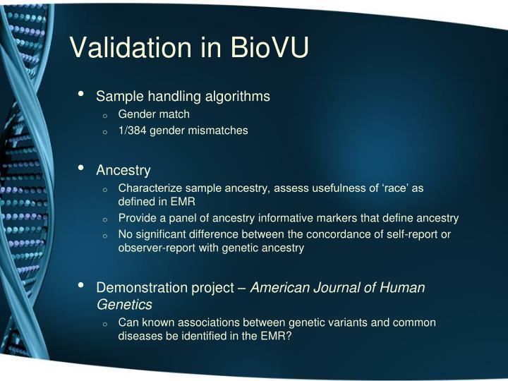 Validation in BioVU