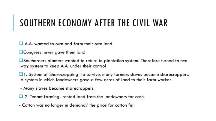 Southern Economy after the Civil war