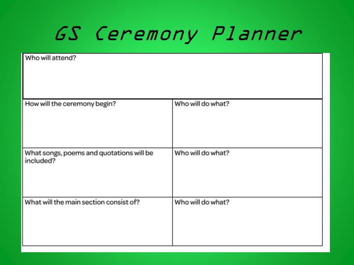 GS Ceremony Planner