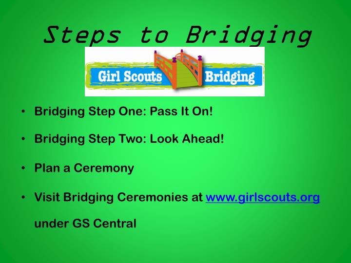 Steps to Bridging