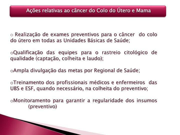 Ações relativas ao câncer do Colo do Útero e Mama