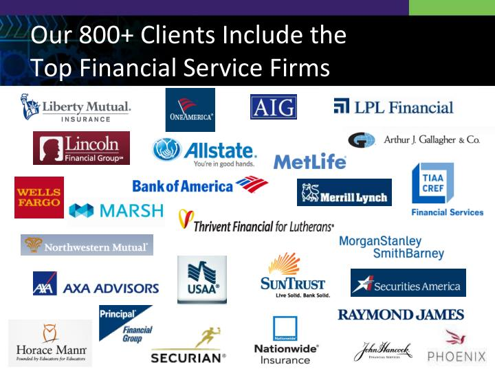 Our 800+ Clients Include the Top Financial Service Firms