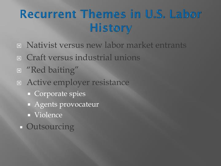 Recurrent themes in u s labor history