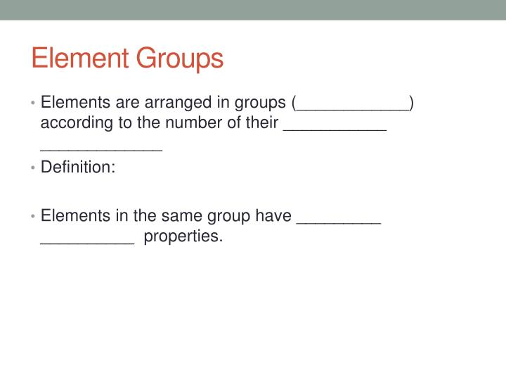 Element Groups