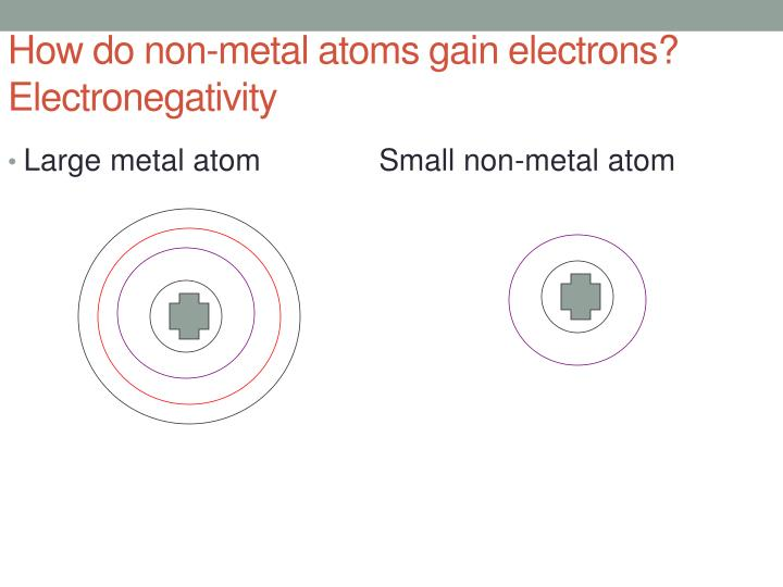 How do non-metal atoms gain electrons?  Electronegativity