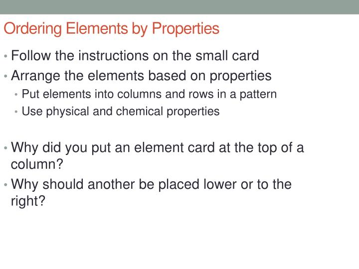 Ordering Elements by Properties
