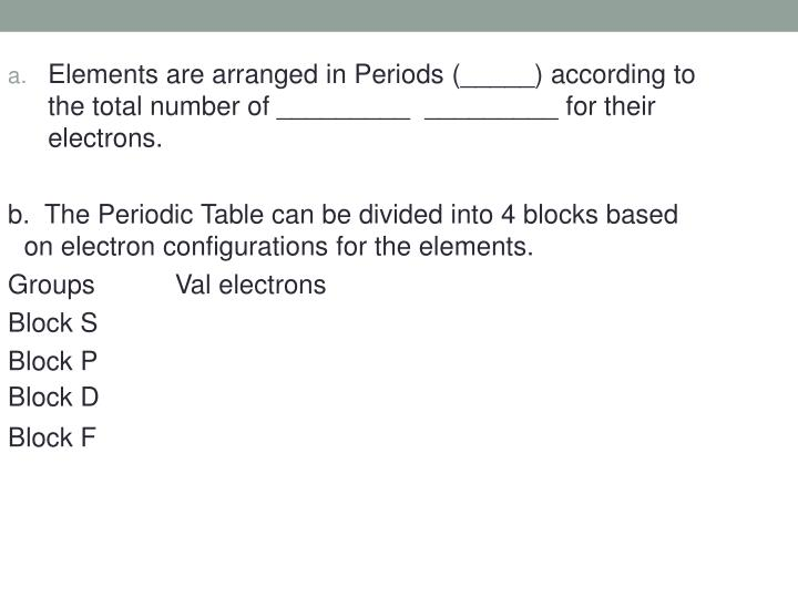 Elements are arranged in Periods (_____) according to the total number of _________  _________ for their electrons.