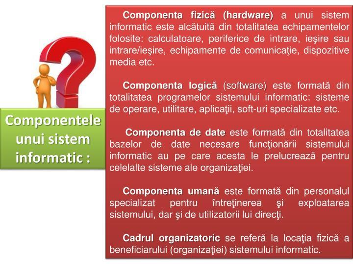 Componenta fizică (hardware)
