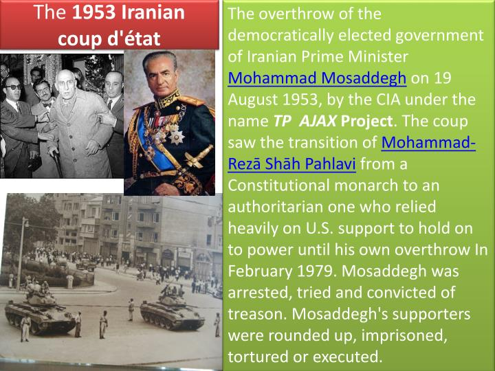 The overthrow of the democratically elected government of Iranian Prime Minister