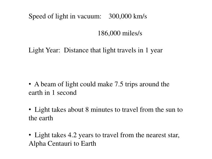 Speed of light in vacuum:    300,000 km/s