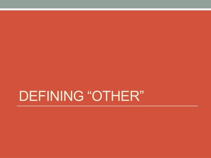 """Defining """"Other"""""""