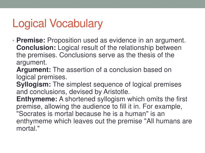 Logical Vocabulary