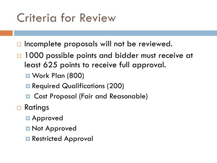Criteria for Review