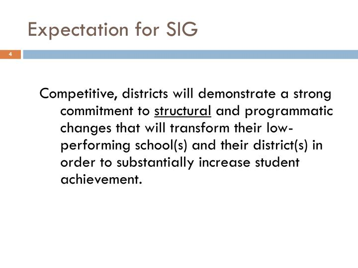 Expectation for SIG