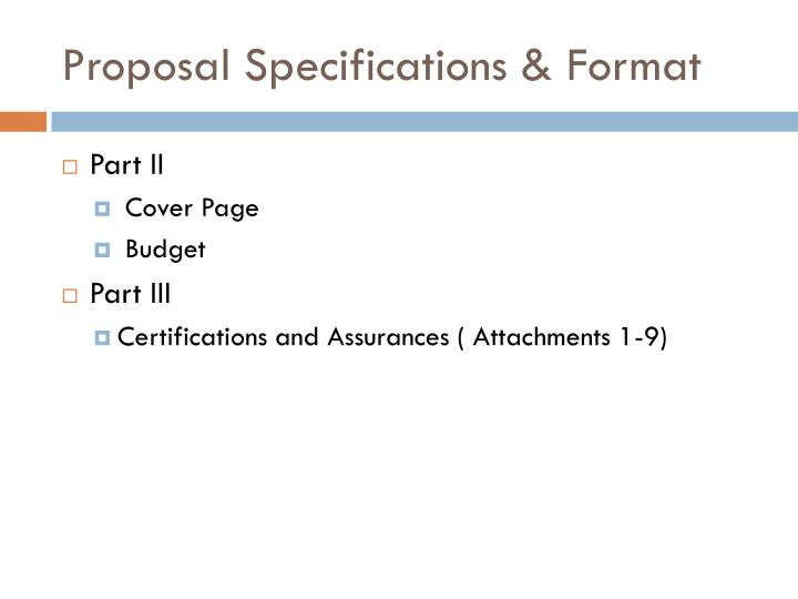 Proposal Specifications & Format