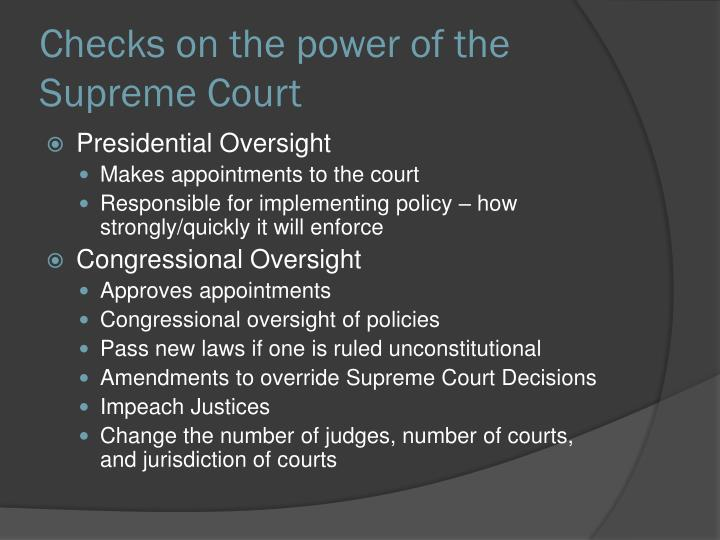 Checks on the power of the Supreme Court