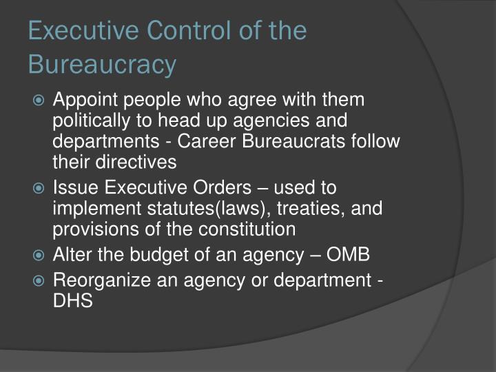 Executive Control of the Bureaucracy
