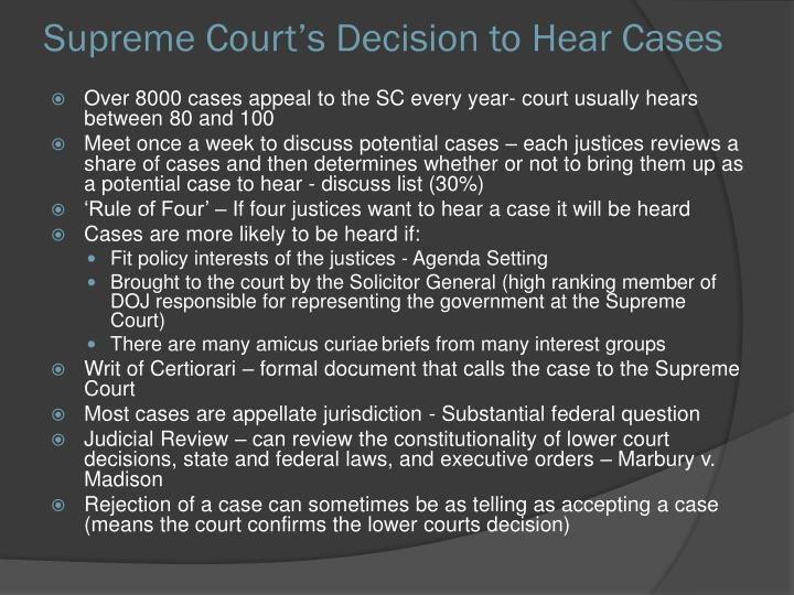 Supreme Court's Decision to Hear Cases