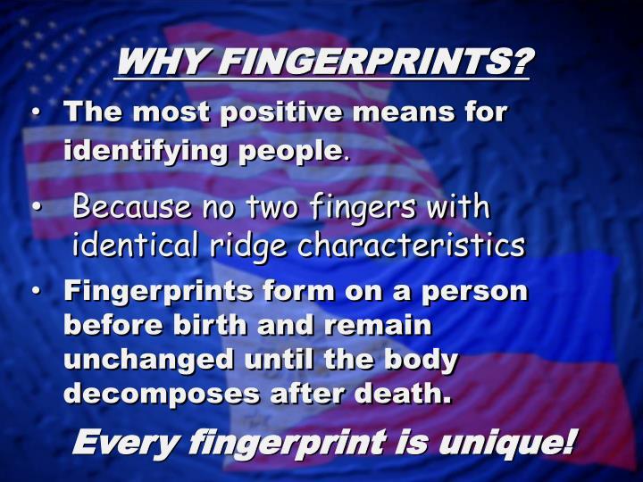 WHY FINGERPRINTS?