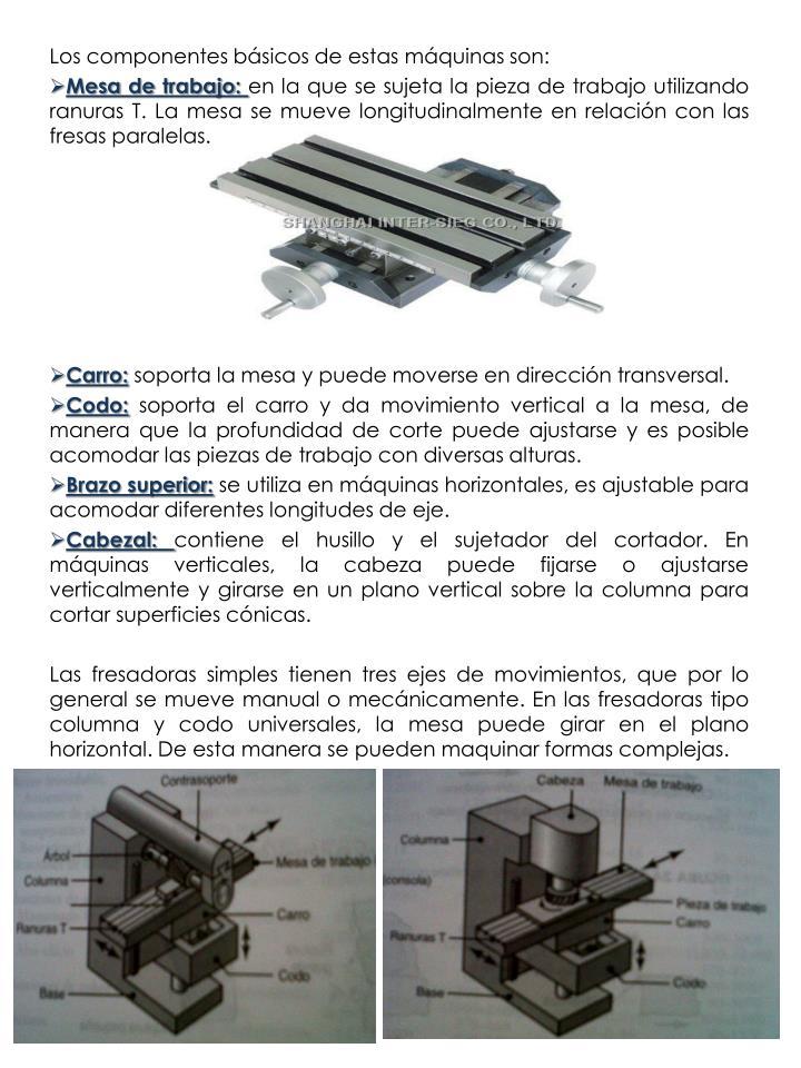 Los componentes básicos de estas máquinas son: