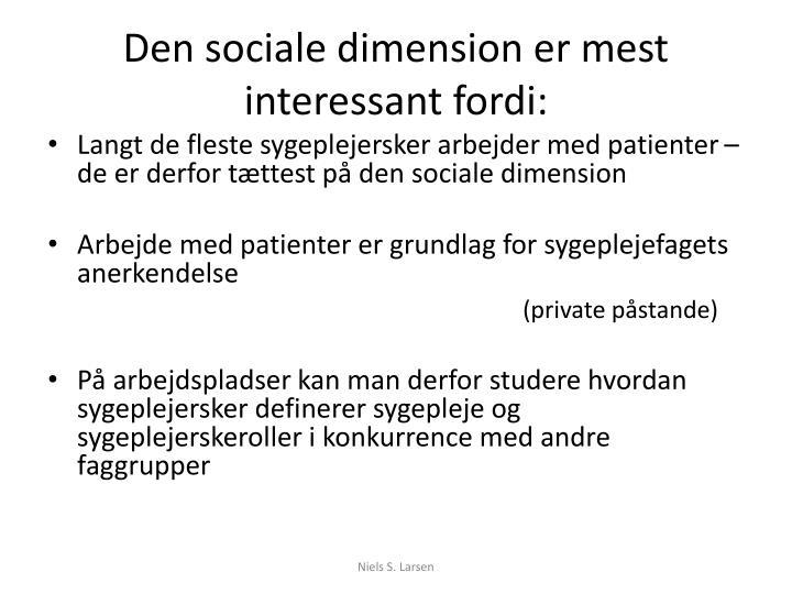 Den sociale dimension er mest interessant fordi: