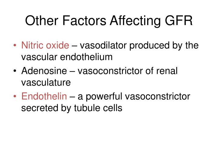 Other factors affecting gfr