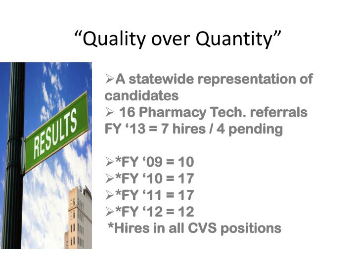 """""""Quality over Quantity"""""""