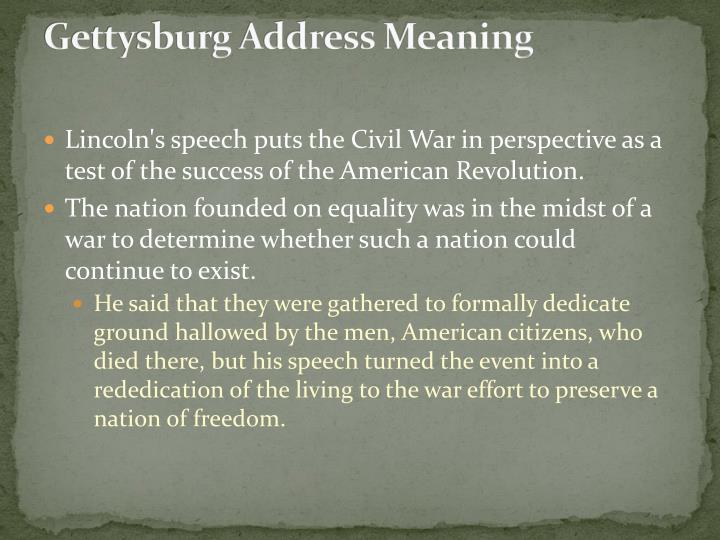 Gettysburg Address Meaning