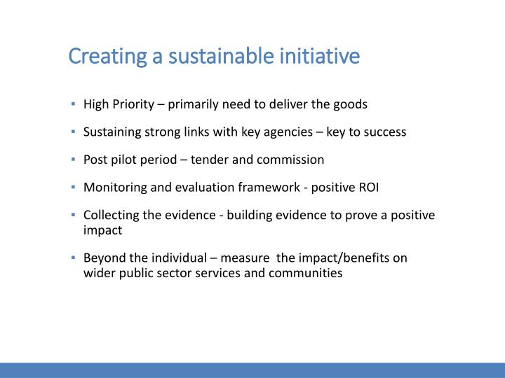Creating a sustainable initiative