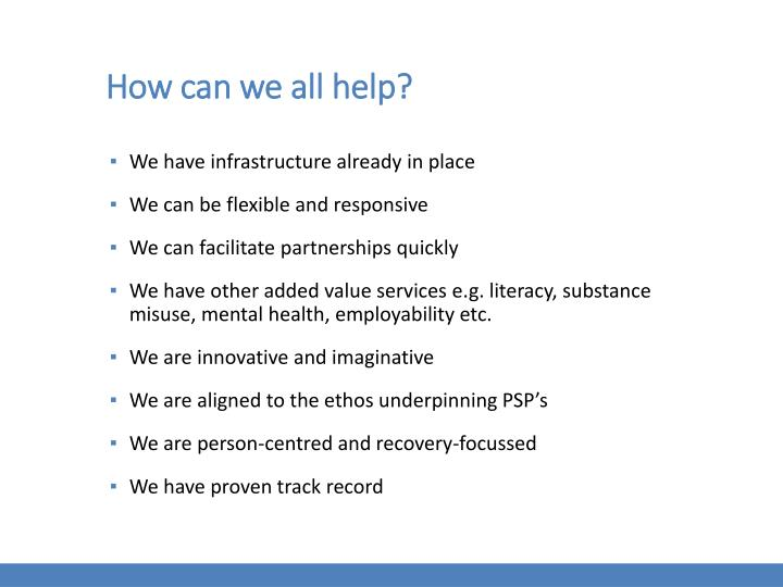 How can we all help?
