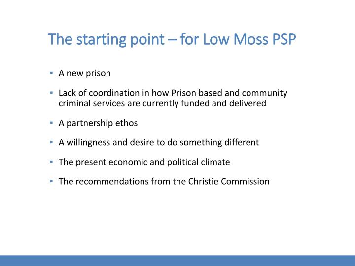 The starting point – for Low Moss PSP