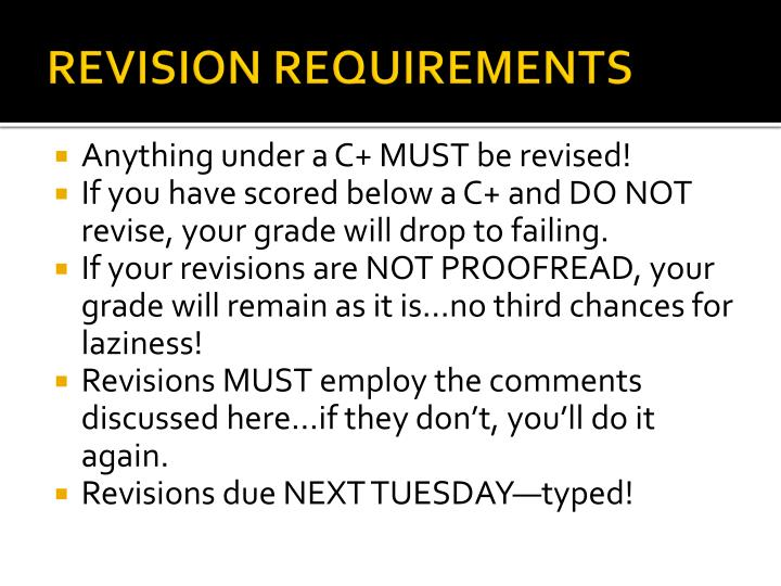 REVISION REQUIREMENTS