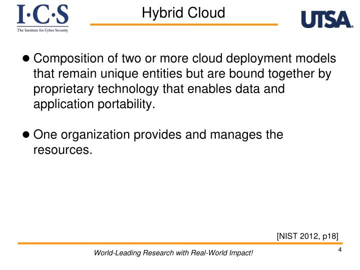 Composition of two or more cloud deployment models that remain unique entities but are bound together by proprietary technology that enables data and application portability.