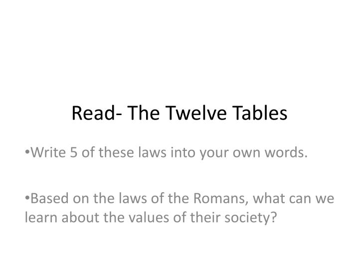 Read- The Twelve Tables