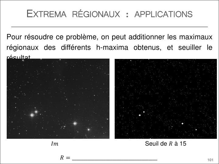 Extrema régionaux : applications