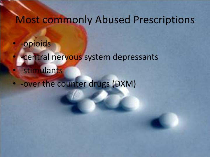 Most commonly Abused Prescriptions