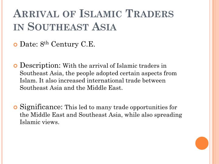 Arrival of Islamic Traders in Southeast Asia