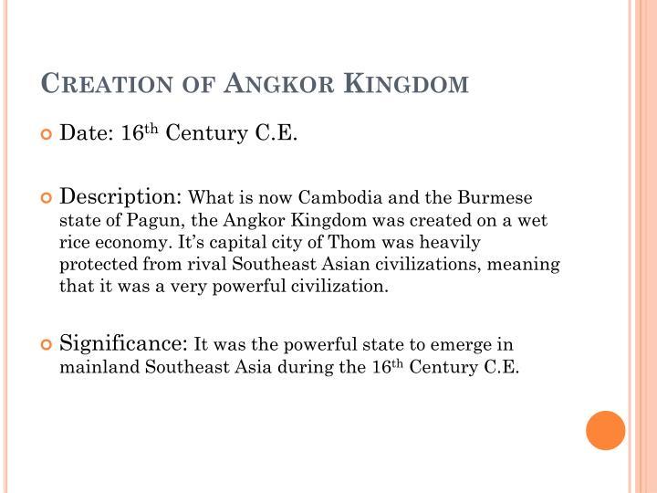 Creation of Angkor Kingdom