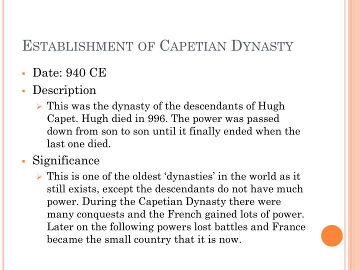 Establishment of Capetian Dynasty