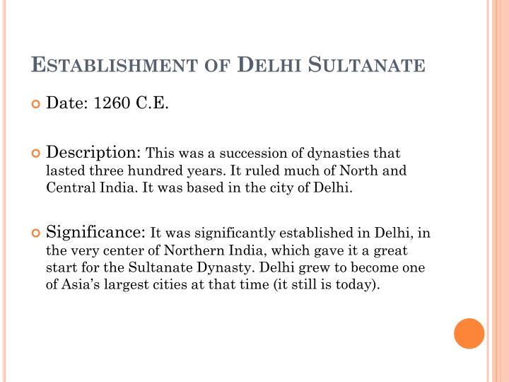 Establishment of Delhi Sultanate