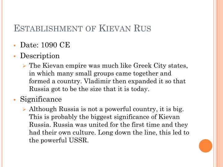 Establishment of Kievan Rus