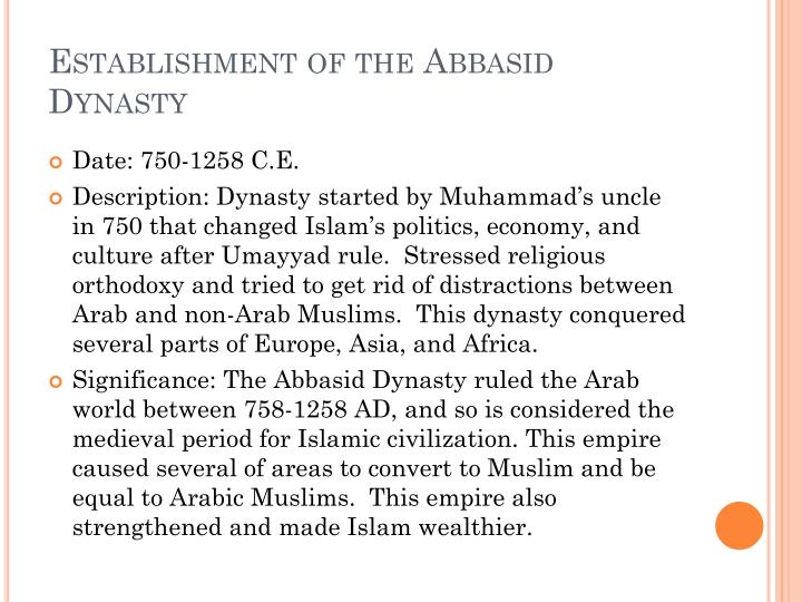 Establishment of the Abbasid Dynasty