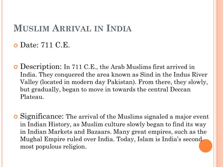 Muslim Arrival in India