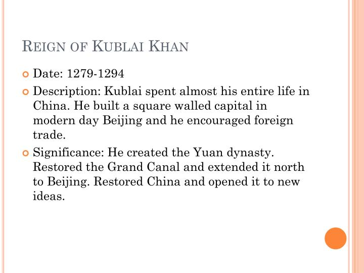 Reign of Kublai Khan