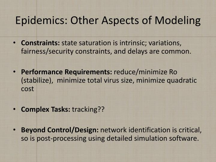 Epidemics: Other Aspects of Modeling