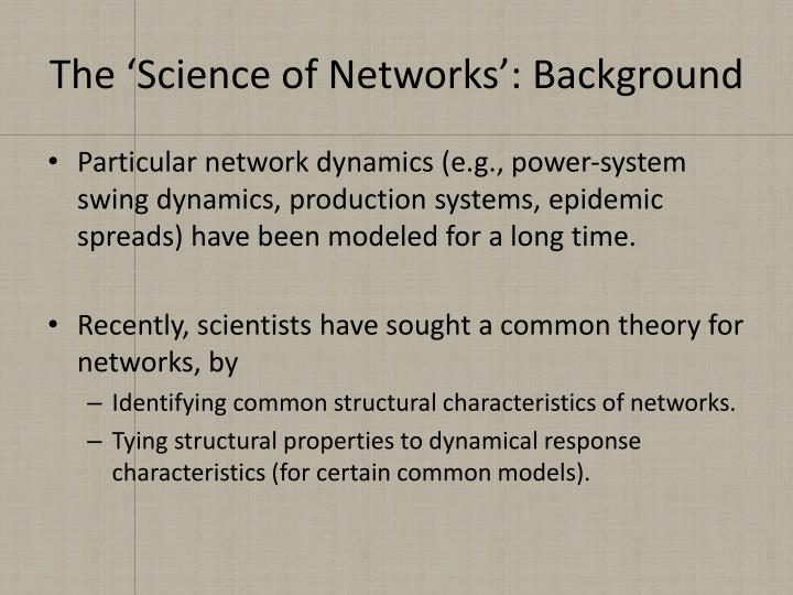 The 'Science of Networks': Background