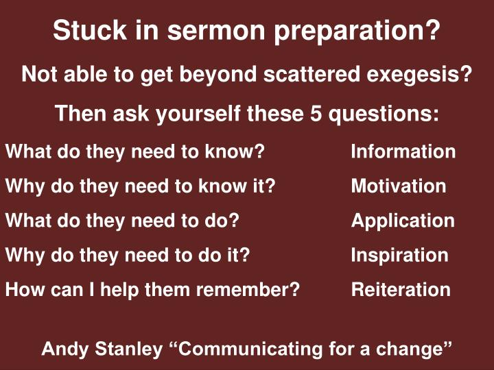 Stuck in sermon preparation?