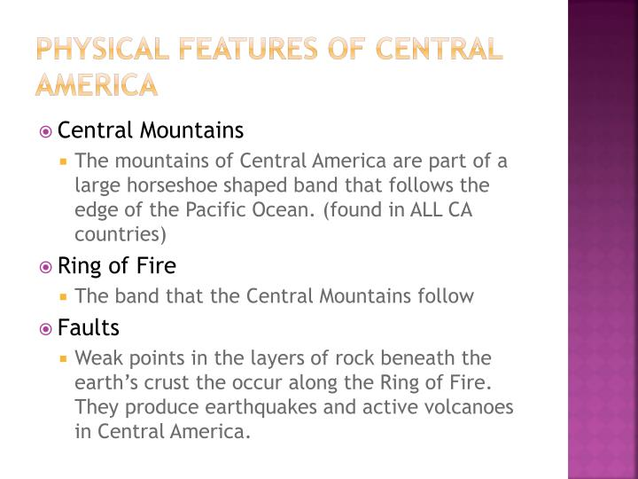 Physical features of Central America
