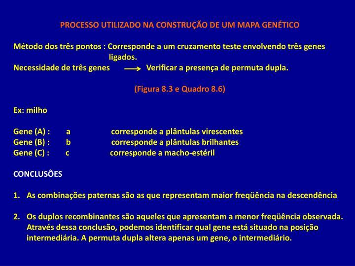 PROCESSO UTILIZADO NA CONSTRUÇÃO DE UM MAPA GENÉTICO